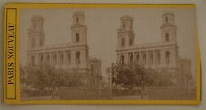 Chiesa-Saint-Sulpice-Parigi-Francia-Foto-Stereo-L44-Vintage-Albumina-c1870