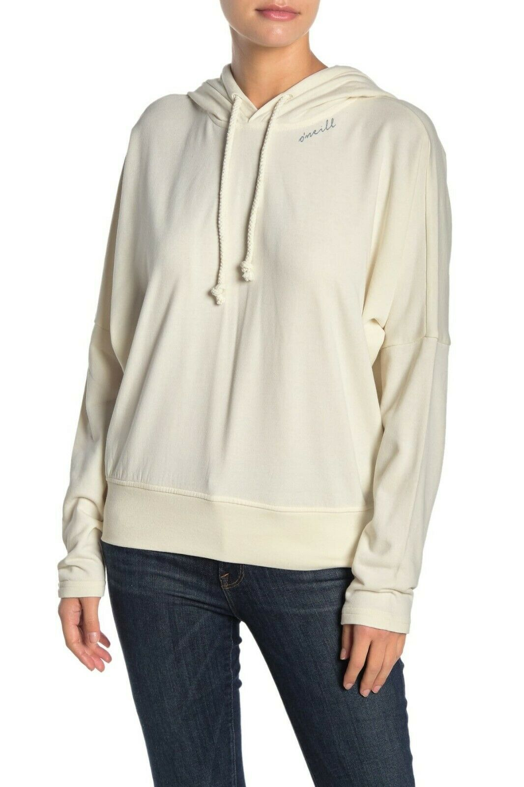 O'Neill ISOLA Off White Graphic Logo Relaxed Pullover Hooded Junior's Sweatshirt