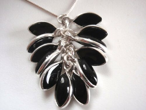 Black Onyx Marquise Cluster 925 Sterling Silver Necklace Corona Sun Jewelry