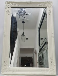 Creme-blanche-grand-Style-Francais-miroir-art-deco-salon-couloir-Wall-hung