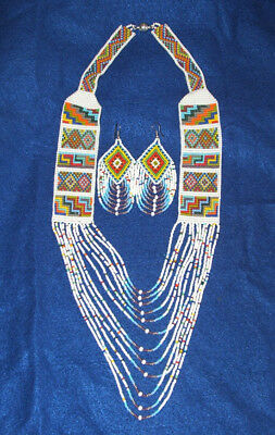 Beaded Necklace & Earrings Set White & Multi Colored Woman's Regalia New 05