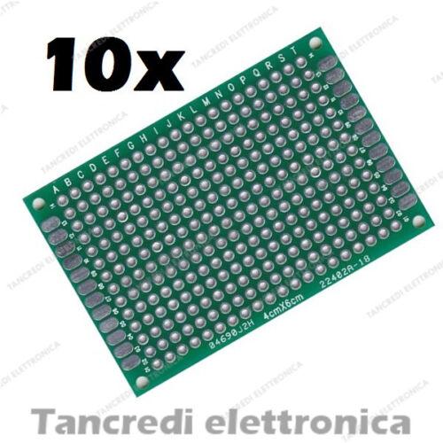 10x Basetta Millefori 4x6 cm 40x60 Vetronite Doppia faccia Prototype pcb Board