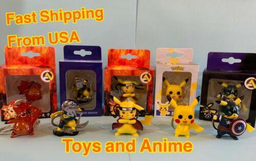 Pikachu Naruto Captain America Funko Pop keychain