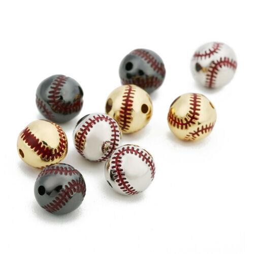 2pcs Baseball Metal Spacer Beads Accessories for Diy Jewelry Making Handmade