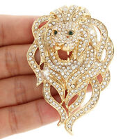 "2.7"" King Roaring Lion Wildlife Animal Clear Austrian Crystal Brooch Pin Gold GP"