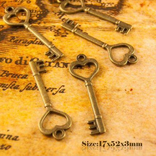 5 Antique Bronze Vintage Style Heart Shape Key Charms Pendant 006