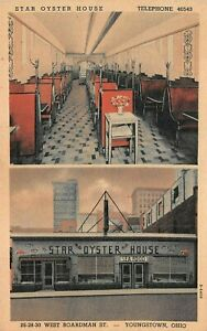 Vintage Star Oyster House Restaurant Youngstown Ohio  Linen Postcard 1945