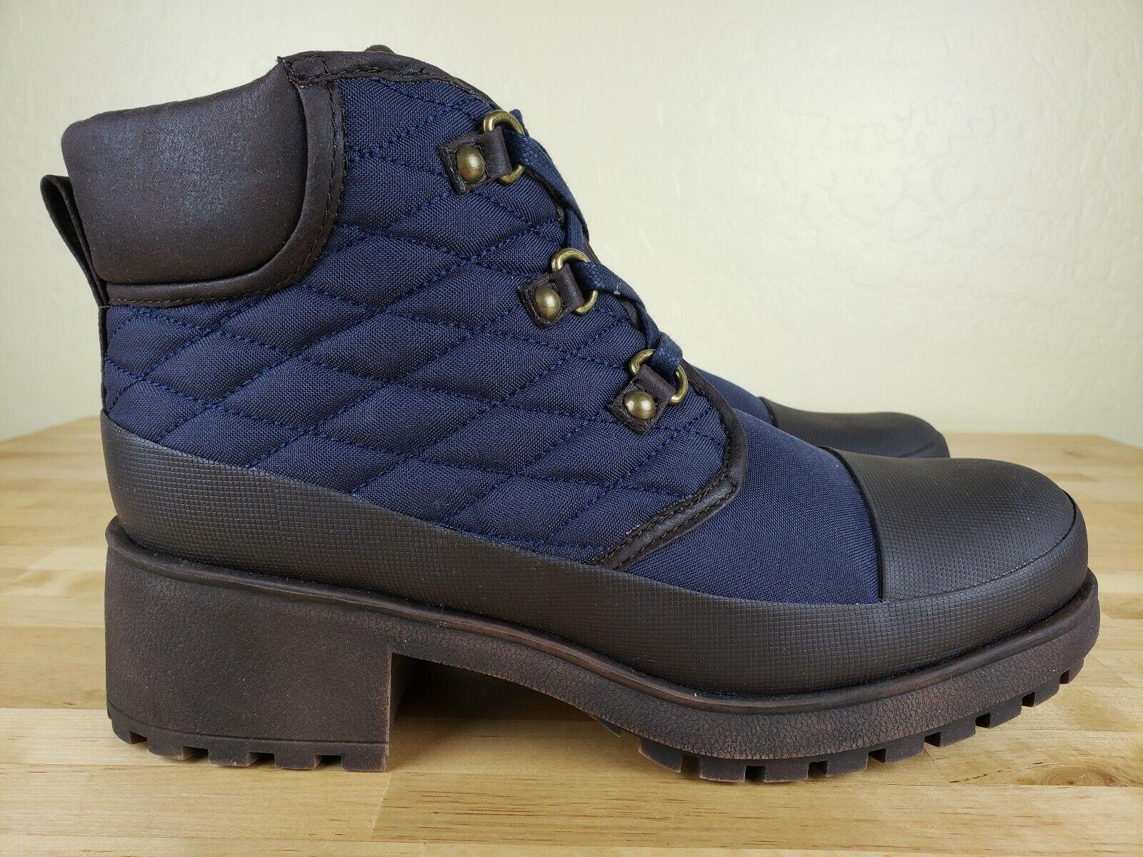 Lucky Brand akonn botas de combate para mujer Talla 9 Botines Acolchado Azul Piel Sintética