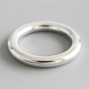 Handmade Solid 925 Sterling Silver Minimalist Round Rings for Women Fine Jewelry