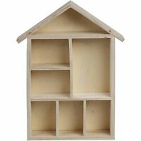 House Shaped Wooden Shelf Box Storage Craft Home Decorate Gift Shelving Children