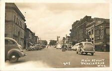 A Busy Day On Main Street, 30's & 40's Autos, Rhinelander, Wisconsin WI RPPC