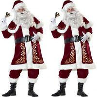 DELUXE SANTA COSTUME 7 PIECES PLUSH FATHER CHRISTMAS FANCY DRESS XMAS M - XXXL