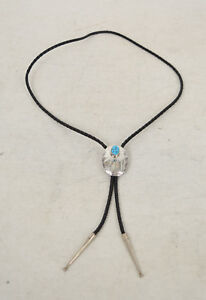 Native-American-Indian-Sterling-Silver-Turquoise-Bolo-Tie-Navajo-Stampwork