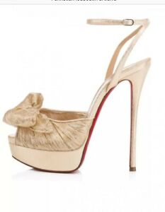 0217a0c9d76 Image is loading NIB-Christian-Louboutin-Artydiva-120-Gold-Bow-Ankle-