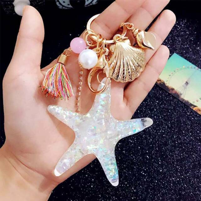 Cartoon Sea World Starfish Pearl Shell Key Chain KeyRing Crystal Pendant Gifts