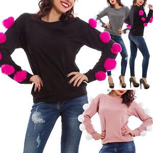 Felpa-donna-maglia-pompon-pon-pon-palle-pelliccia-maniche-lunghe-nuova-GI-17201