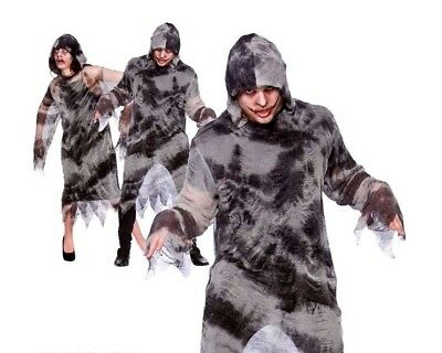 Adult ZOMBIE ROBE WITH HOOD Halloween Unisex Spooky Fancy Dress Costume One Size