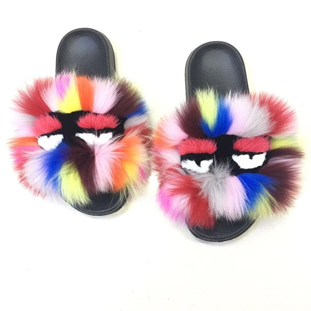 Real Fox Fur Monster Multicolor Slipper Sandal Shoes Outdoor Indoor Outdoor Shoes Flat slides 2b4e52