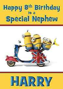 Image Is Loading Minions Personalised A5 Birthday Card Son Nephew Niece