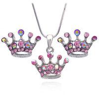 Princess Pink Crown Tiara Pendant Necklace Stud Earrings Jewelry Set S31sp