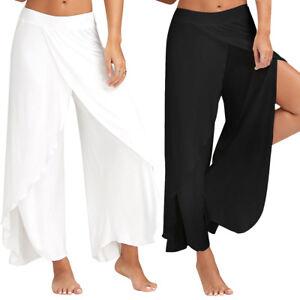 Women-Lady-High-Waist-Elastic-Flared-Wide-Leg-Pants-Causal-Dance-Long-Trousers