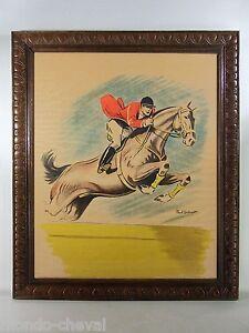 LITHOGRAPHIE-ENCADREE-Paul-Ordner-concours-hippique-1956-cheval-affiche