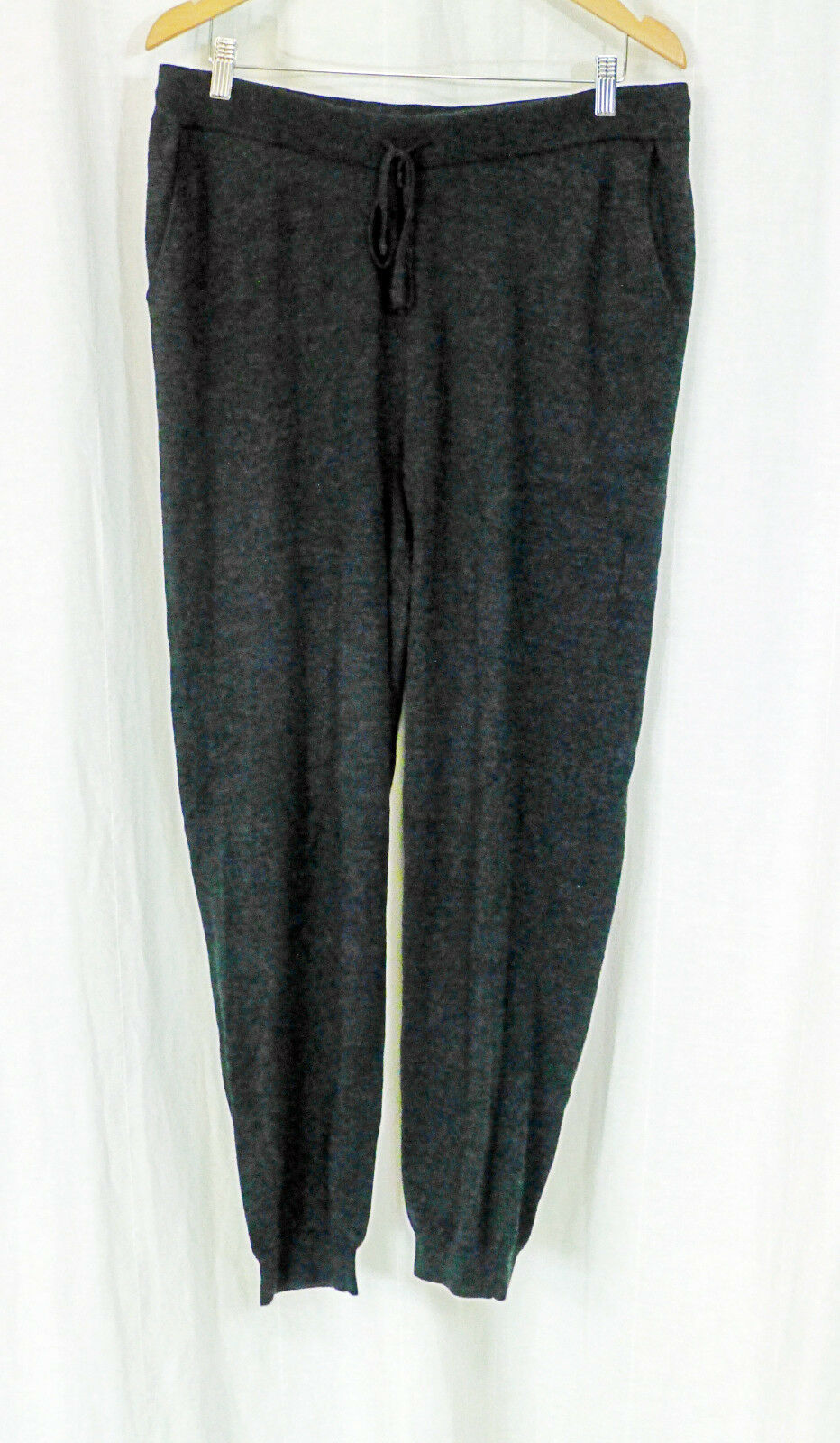 EILEEN FISHER CHARCOAL WOOL SWEATER KNIT TIE WAIST SLOUCHY LOUNGE PANT M LN FALL