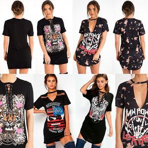 Women Ladies Choker V-Neck Short Sleeve Slogan Printed Longline T Shirt Dress