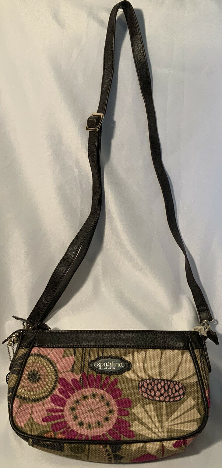 Spartina Crossbody Linen & Leather Floral Handbag