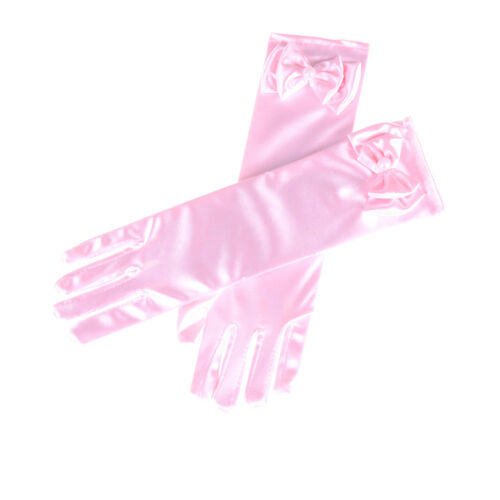 Satin Bow Pearl Long Gloves Elbow Length Princess Costume Dress Baby Girls KidOJ