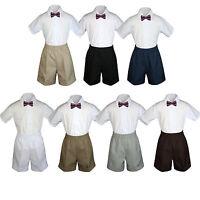 3pc Set Boy Toddler Formal Party Eggplant Bow Tie White Navy Khaki Shorts S-4t
