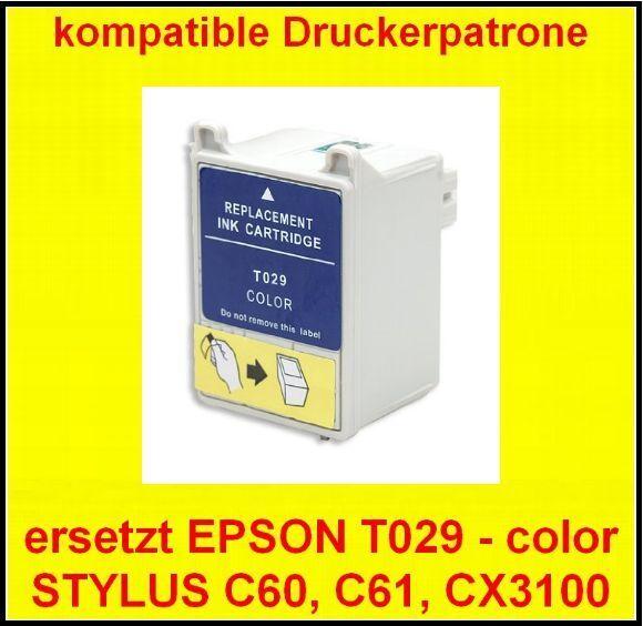 komp. Patrone für EPSON STYLUS C50 C60 C61 CX3100 * ersetzt T029 color  ohne OVP
