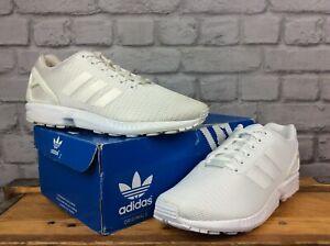 Adidas Homme Originals ZX FLUX BLANC Torsion Baskets De Nombreuses Tailles RRP £ 70