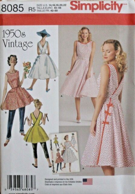 SIMPLICITY SEWING PATTERN 8085 MISSES 6-14 RETRO 1950s /'50s VINTAGE WRAP DRESS