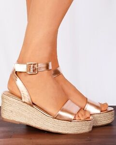 Metallic Canvas Rose Sandals Wedges Gold Espadrilles Strappy Wedged CxBeWorQd