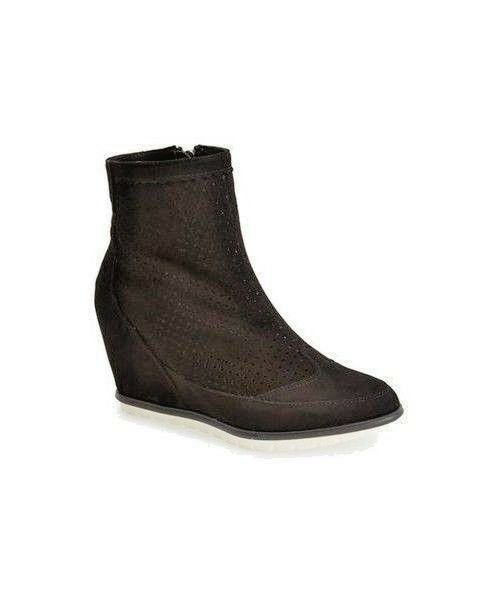 ADAM TUCKER suede hidden black wedge high ankle sneaker boots booties 7.5 M