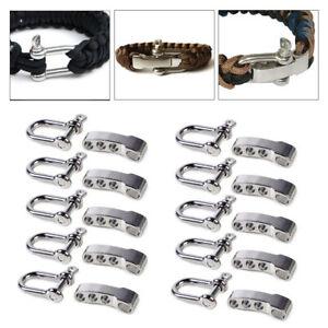10X Adjustable Stainless Steel U Shaped Shackle Buckle For Paracord Bracelet SR
