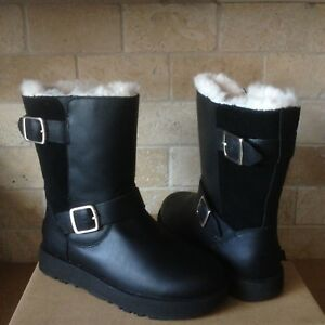 e22aecf02c5 Details about UGG BREIDA BLACK WATERPROOF LEATHER FUR BUCKLE SHORT BOOTS  SIZE US 8 WOMENS