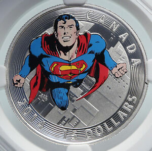 2014-CANADA-UK-Elizabeth-II-COLOR-SUPERMAN-COMIC-Proof-Silver-15-Coin-NGC-i85995