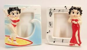 2 VTG Betty Boop Formal Dress Musical/ Red Bikini Surfing Waves Picture Frames