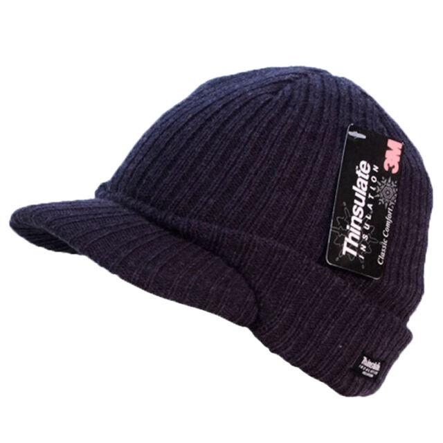 5c03922a5 Unisex Mens Ladies Peaked Beanie Thinsulate Thermal Winter Ski Hat With Peak