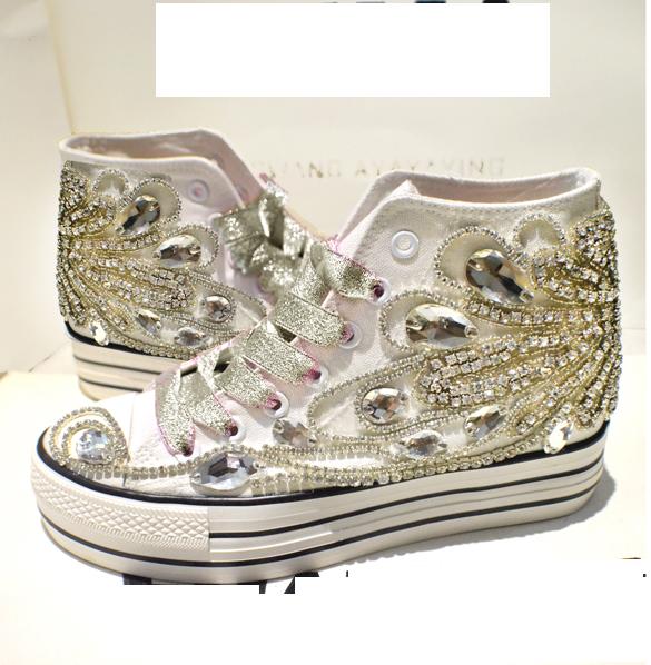 Womens Sports Hidden Heel Platform Sneakers Rhinestone High Top Creepers shoes