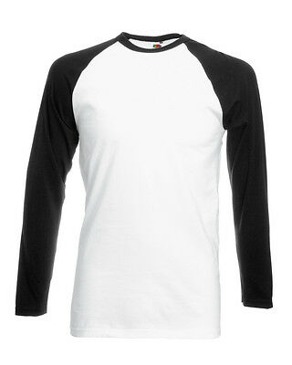 Men's Fruit of the Loom Long Sleeve Baseball Plain Cotton T-shirt - S M L XL 2XL