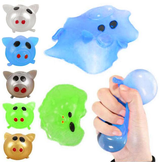 Cute Kawaii Jello Pig Stress Ball Sticky Stress Relief Smasher Soft TPR Vent Toy