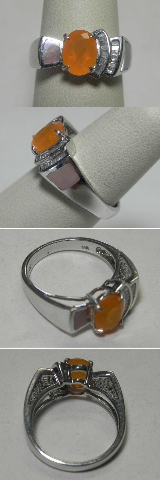 C944 Estate Designer JP Abstract 14K Solid White gold orange Fire Opal Ring Sz 7