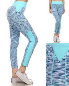 Womens-Leggings-Stretch-Yoga-Fitness-Workout-7-8-Length-Pants-Blue-Multi