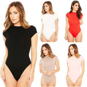 39be089b64 Image is loading Women-Ladies-Bodysuit-Stretch-Leotard-Short-Sleeve-Body-