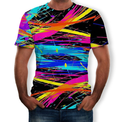 3D Hypnosis T-Shirt Men Womens Colorful Print Casual Short Sleeve Tee Tops NEW