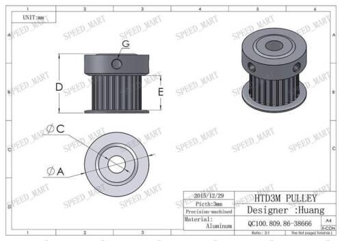 3M Timing Pulley 28 Teeth 6.35mm Bore Stepper Motor 3D Printer 16mm Width HTD