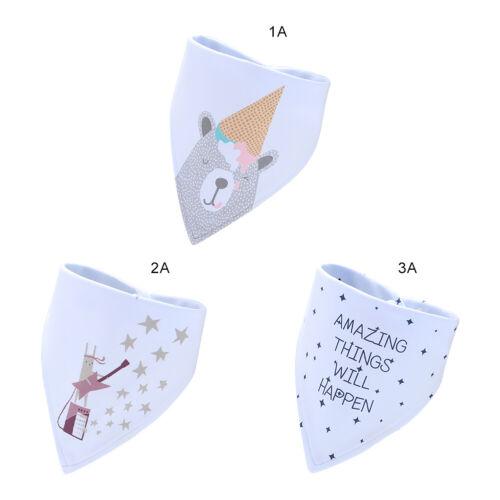 3X Baby Infant Cute Cotton Triangle Bibs Feeding Saliva Towel Waterproof Bandana